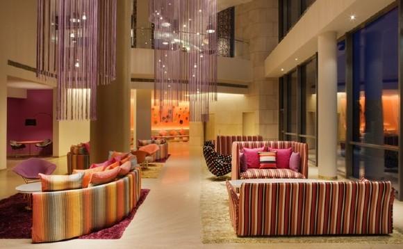 Hotel Missoni Kuwait's chic lobby.