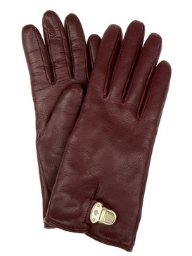 Mulberry Polly Push Lock leather gloves, $220