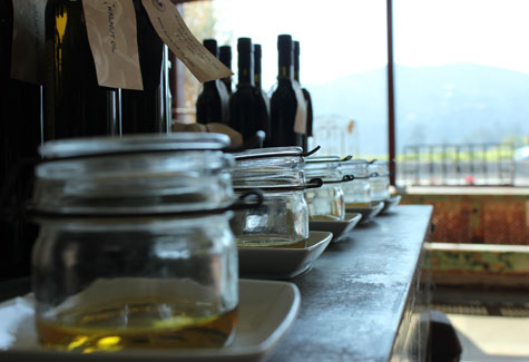 Tasting jars of olive oil at St. Helena Olive Oil Co.