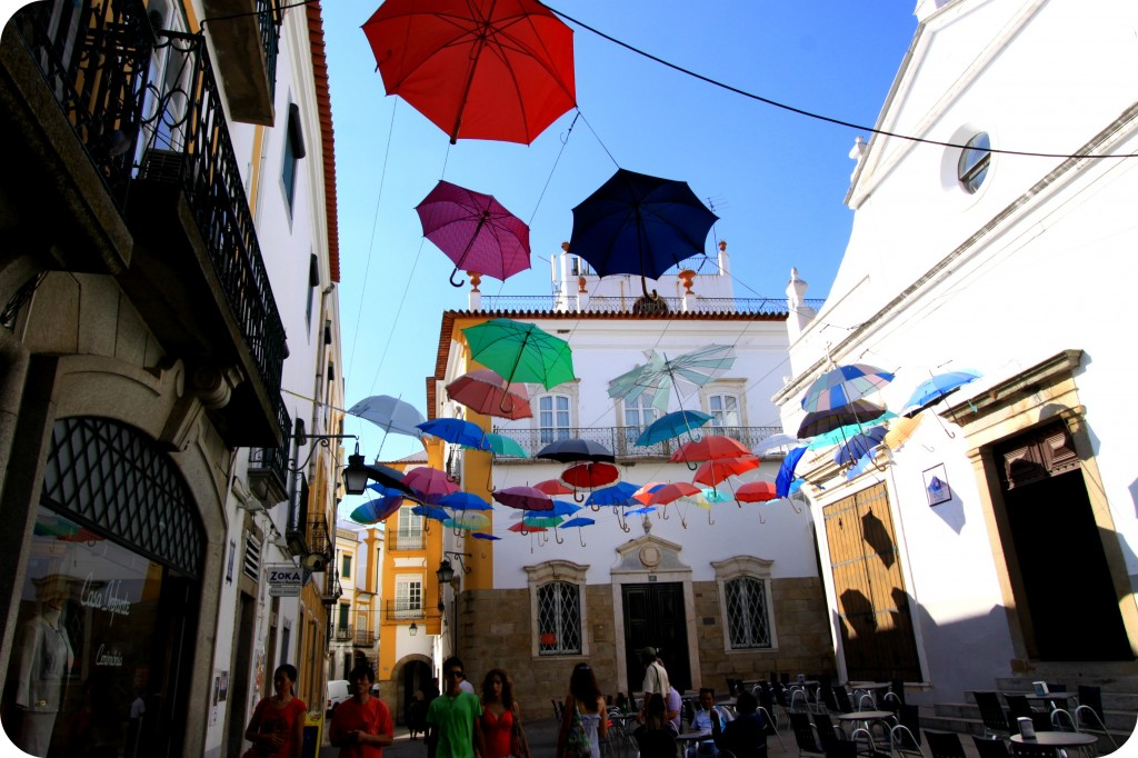Colourful umbrellas line the streets in Evora (an hour outside of Lisbon in wine country)