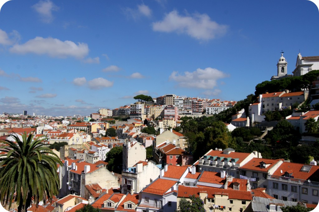 A sunny view of Lisbon on a hot day from one of the city's 7 look out points