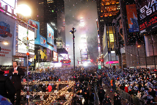 Times Square on New Year's Eve in New York City.