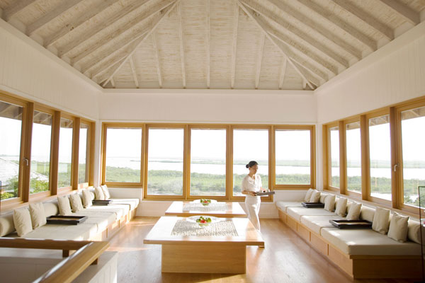 The spa lobby at the Parrot Cay in Turks and Caicos.