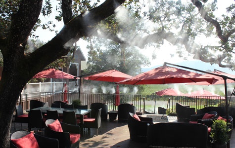 A light mist on the patio to stay cool at Mumm Napa.