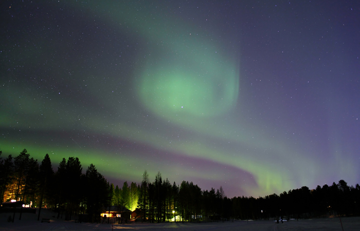 The Northern Lights seen in Lapland, Finland.