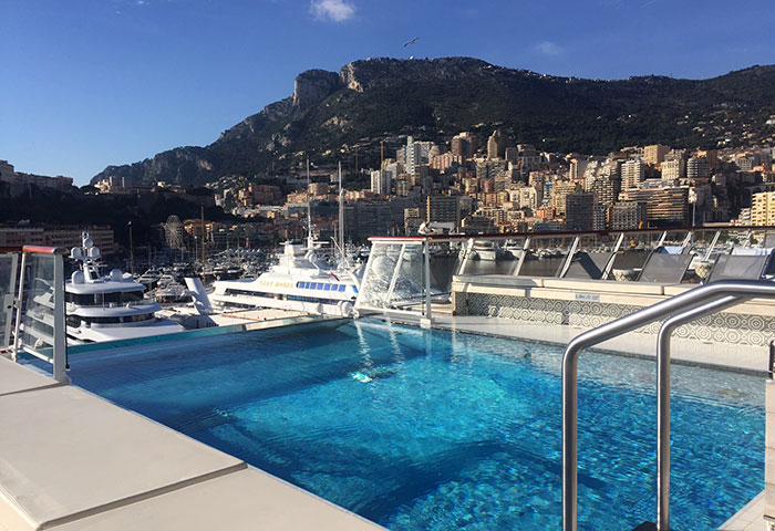 A trip of a life time means you shouldn't skimp on the little luxuries (like a dip in a hot tub with a view of Monte Carlo in the background!)