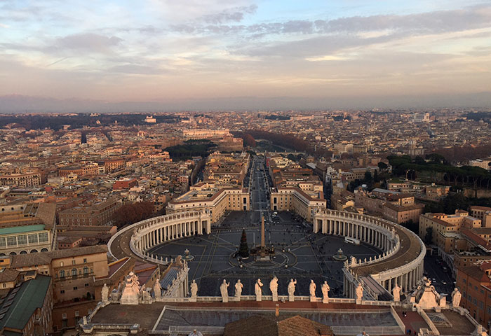 The view from the top of St. Peter's Basilica in Rome is easily one of our biggest travel moments!