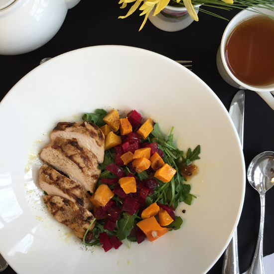 The Fall Harvest Salad with Chicken was a satisfying lunch choice.