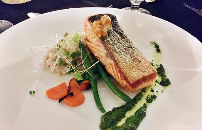 The salmon dinner entree.
